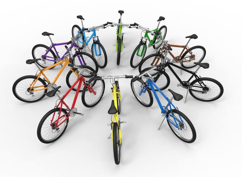 Concetto di diversità di colore delle bici illustrazione di stock