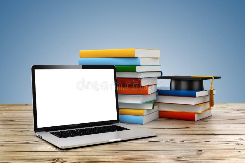 concetto di e-learning 3d e di istruzione illustrazione vettoriale