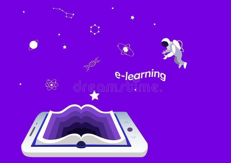 Concetto di e-learning, istruzione e formazione smartphone o compressa come libro Scienza e conoscenza illustrazione vettoriale