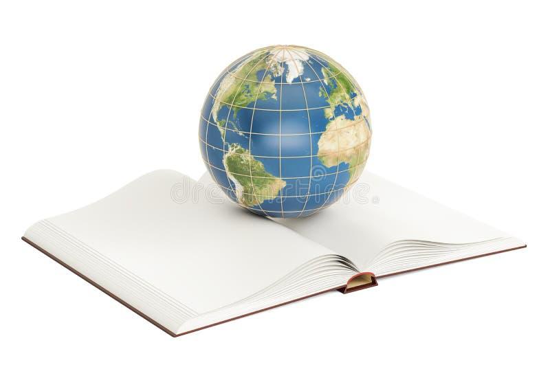 Concetto di e-learning, libro aperto con il globo della terra rappresentazione 3d illustrazione vettoriale