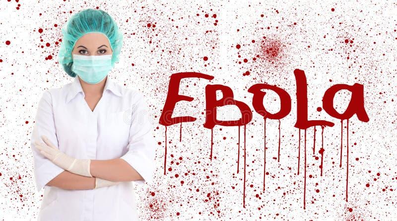 Concetto di ebola - giovane medico o infermiere femminile nell'iso della maschera del chirurgo fotografie stock