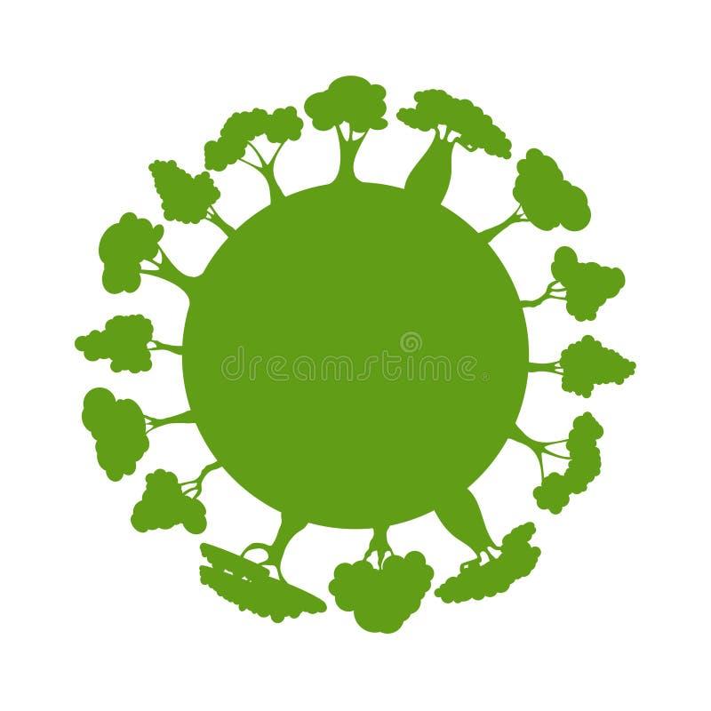 Concetto di ecologia con il pianeta e gli alberi verdi di Eco Globo della terra della siluetta con gli elementi dell'ambiente int illustrazione vettoriale