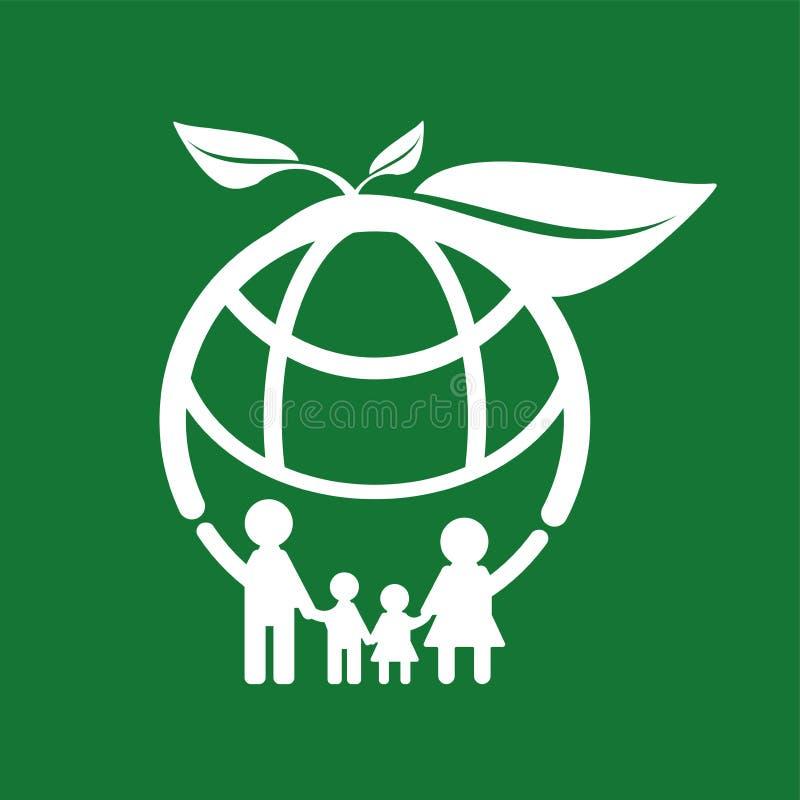 Concetto di ecologia della famiglia Le città verdi aiutano il mondo con ecologico Illustrazione di vettore illustrazione di stock