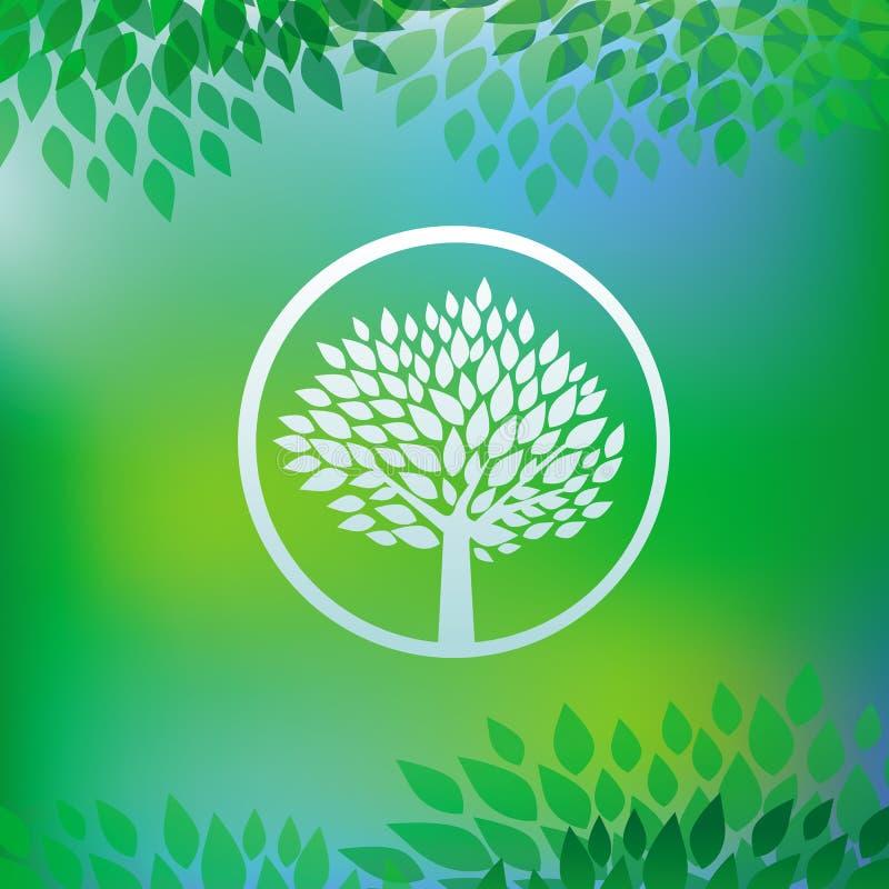 Concetto di ecologia di vettore - emblema dell'albero illustrazione vettoriale