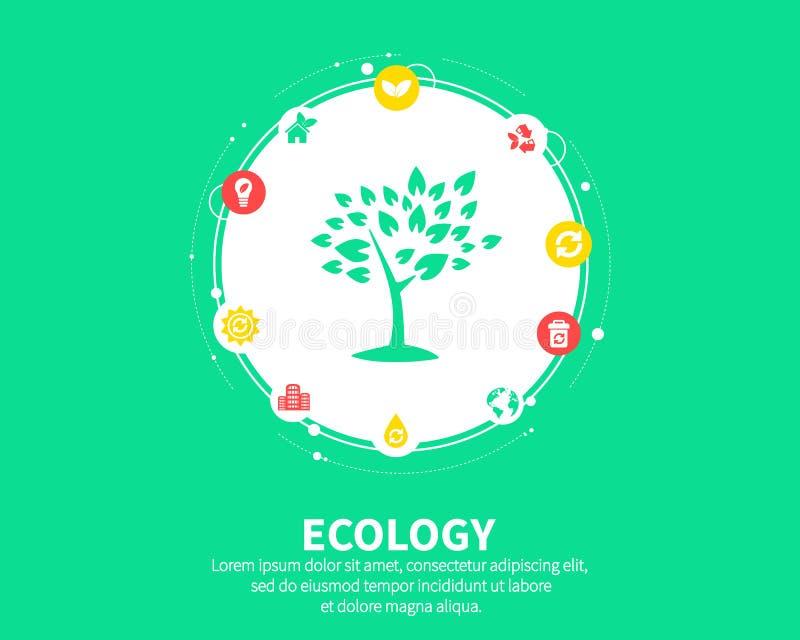 Concetto di ecologia Fondo astratto con gli ingranaggi e le icone collegati per il eco amichevole, energia, ambiente, verde royalty illustrazione gratis
