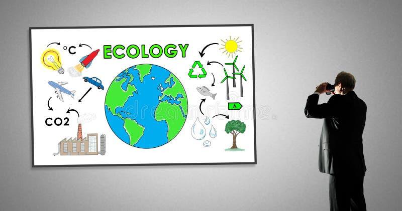 Concetto di ecologia su una lavagna fotografia stock libera da diritti