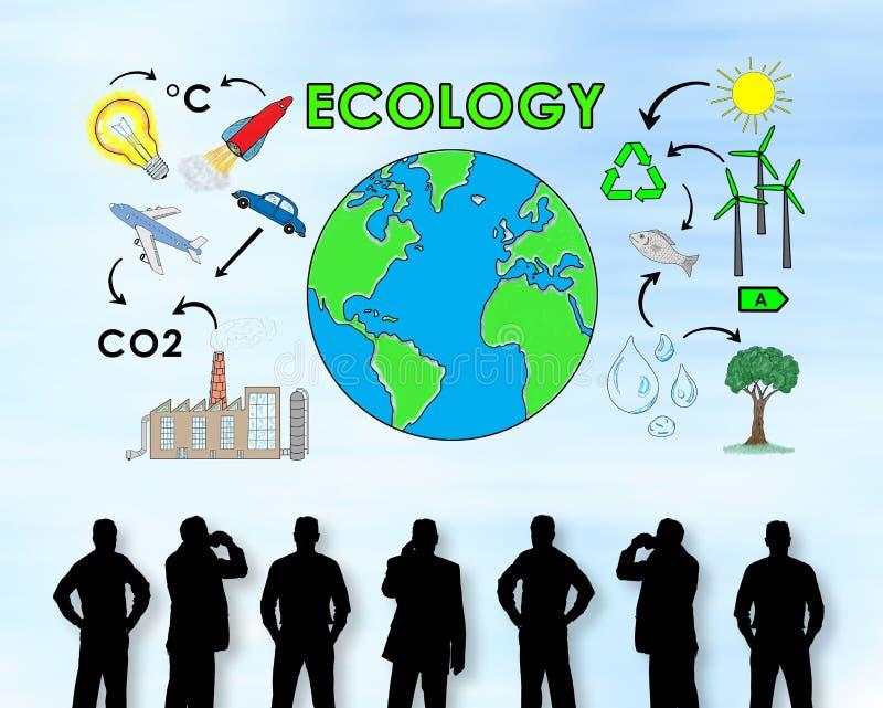 Concetto di ecologia su una parete fotografie stock
