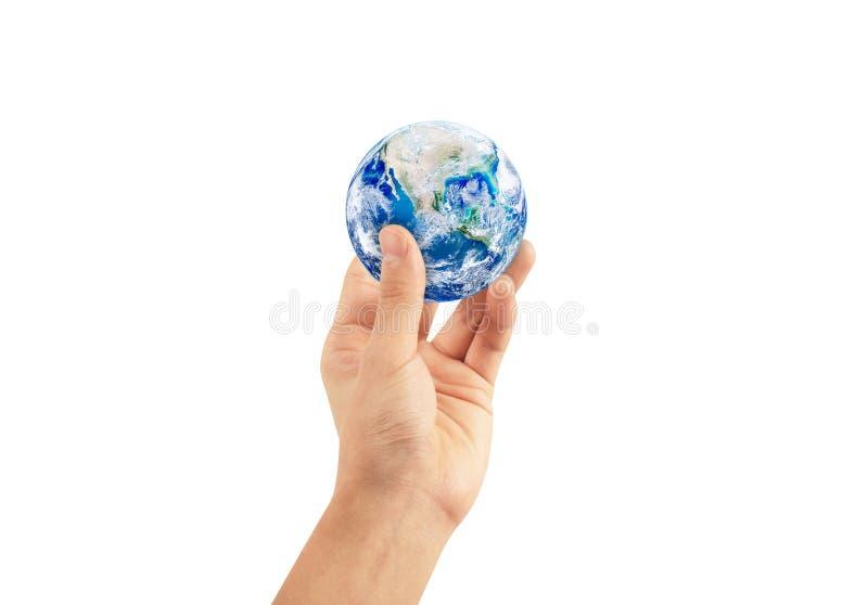 Concetto di ecologia: Uomo che giudica il globo del pianeta Terra a disposizione isolato su fondo bianco illustrazione di stock