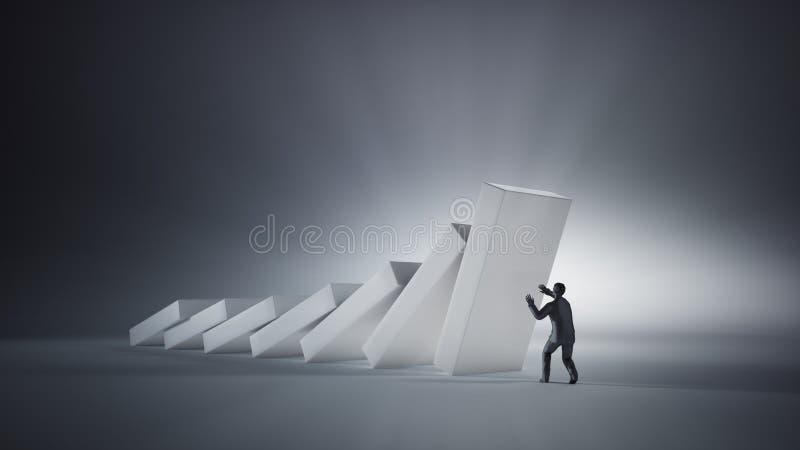 Concetto di effetto di domino fotografia stock