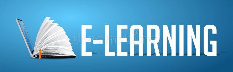 Concetto di Elearning - computer portatile come libro sull'insegna blu illustrazione di stock