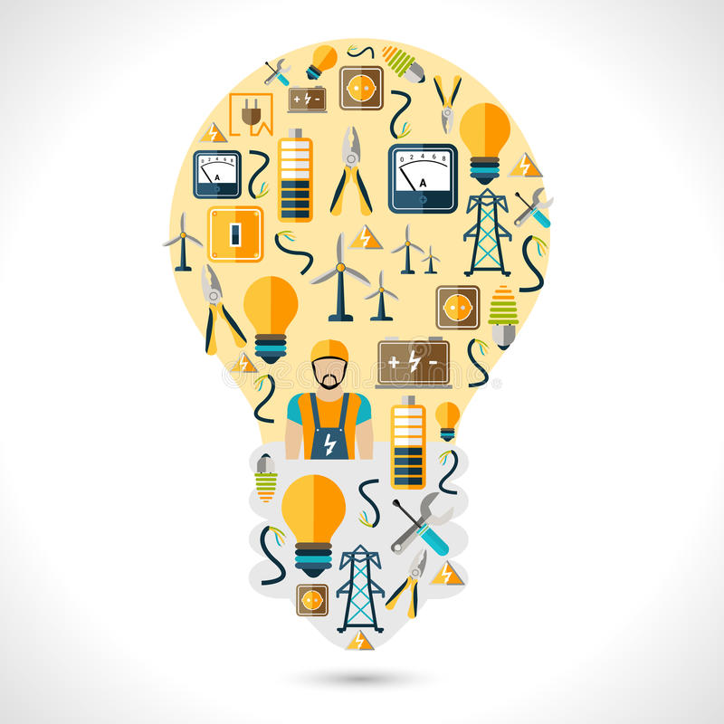 Concetto di elettricità piano illustrazione di stock