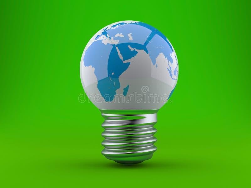 Concetto di energia. Lampadina con la terra del pianeta illustrazione di stock