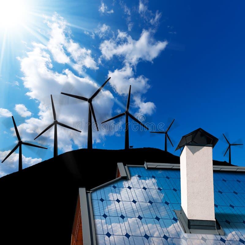 Concetto di energia solare e del vento immagine stock for Aprire piani casa concetto