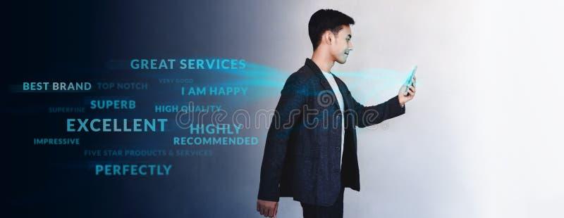 Concetto di esperienza del cliente E fotografia stock