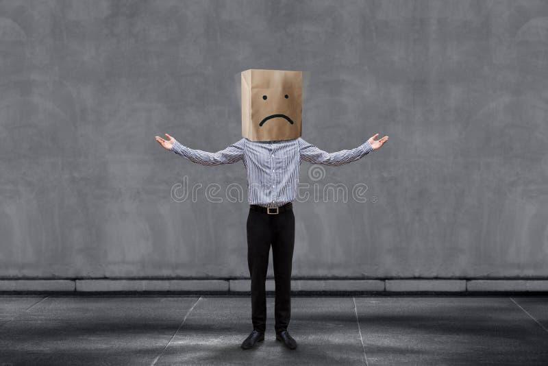 Concetto di esperienza del cliente, uomo d'affari infelice Client con triste immagini stock libere da diritti