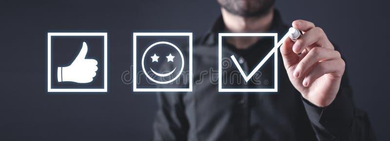 Concetto di esperienza del cliente Valutazione di soddisfazione fotografie stock libere da diritti