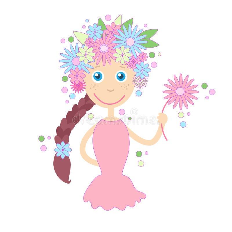Concetto di estate della primavera dei capelli dei fiori della ragazza del fumetto illustrazione di stock