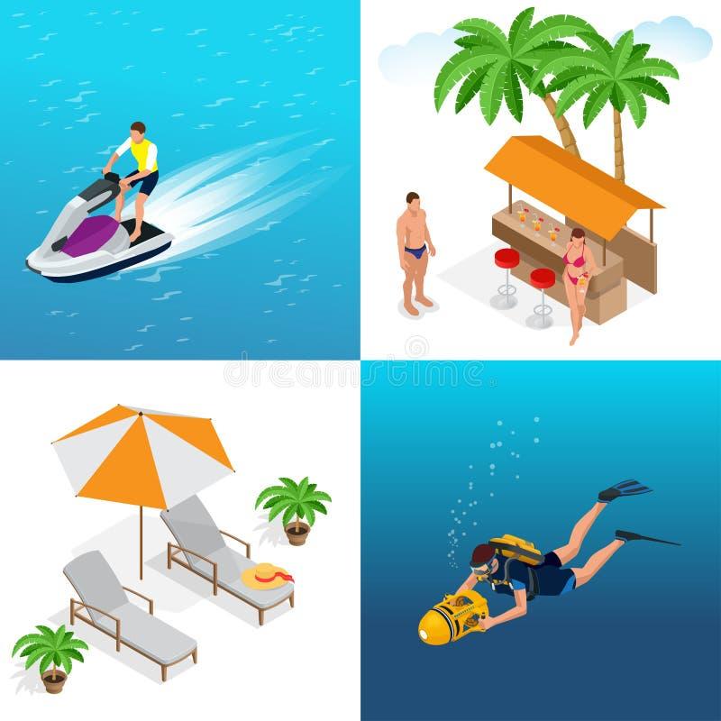 Concetto di estate della spiaggia sabbiosa Fondo idilliaco di viaggio Illustrazione isometrica di vettore piano 3d royalty illustrazione gratis