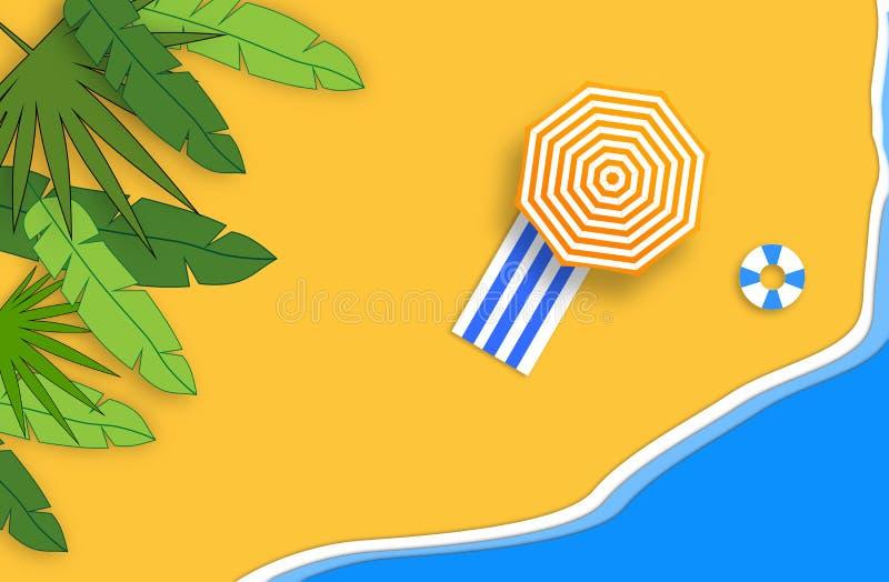 Concetto di estate Spiaggia sabbiosa dell'oro, mare e rilassarsi i posti Composizione fatta a mano e di carta illustrazione di stock