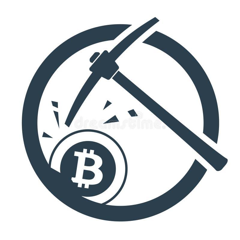 Concetto di estrazione mineraria di Bitcoin con il piccone royalty illustrazione gratis
