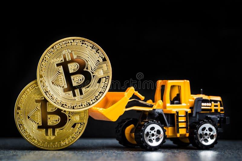 Concetto di estrazione mineraria di cryptocurrency di Bitcoin Tecnologia di Blockchain MI immagini stock libere da diritti