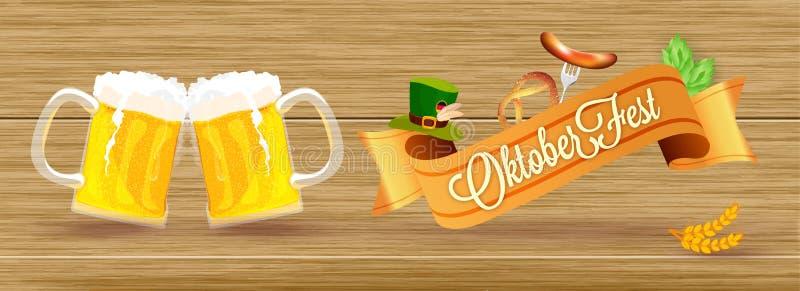 Concetto di evento di Oktoberfest, due tazze di birra, salsiccia con la forcella, pre illustrazione di stock
