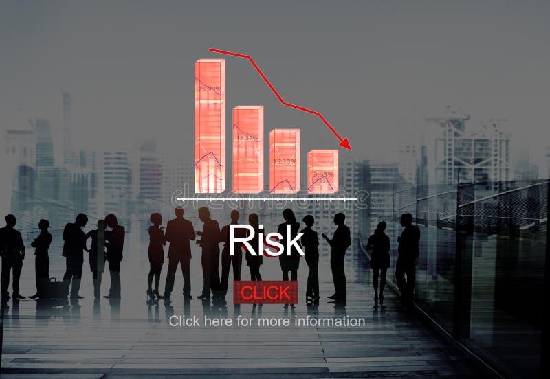 Concetto di fallimento di depressione di deflazione di rischio di problemi immagine stock