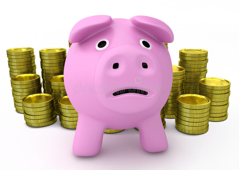 Concetto di fallimento - porcellino salvadanaio triste con le monete dorate illustrazione di stock