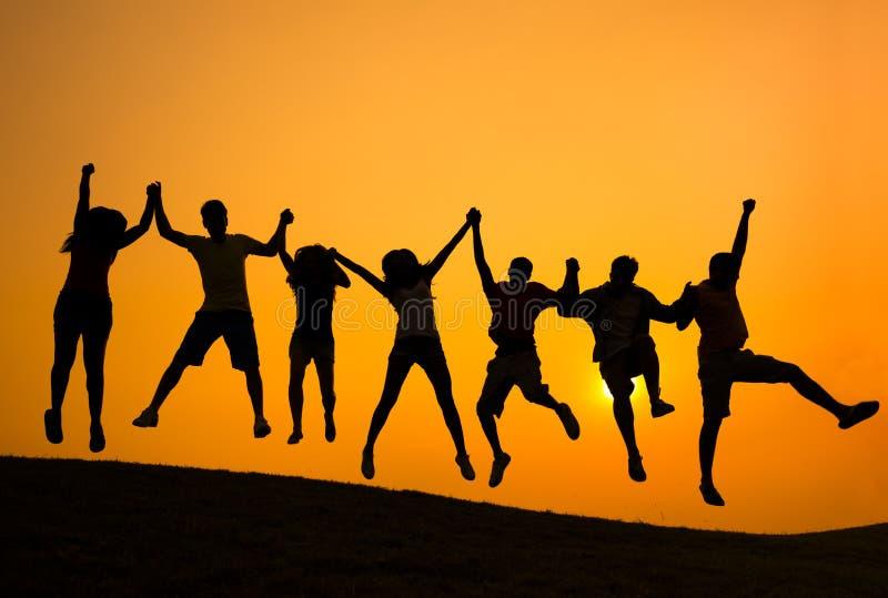 Concetto di felicità della Comunità di risultato di successo fotografie stock libere da diritti