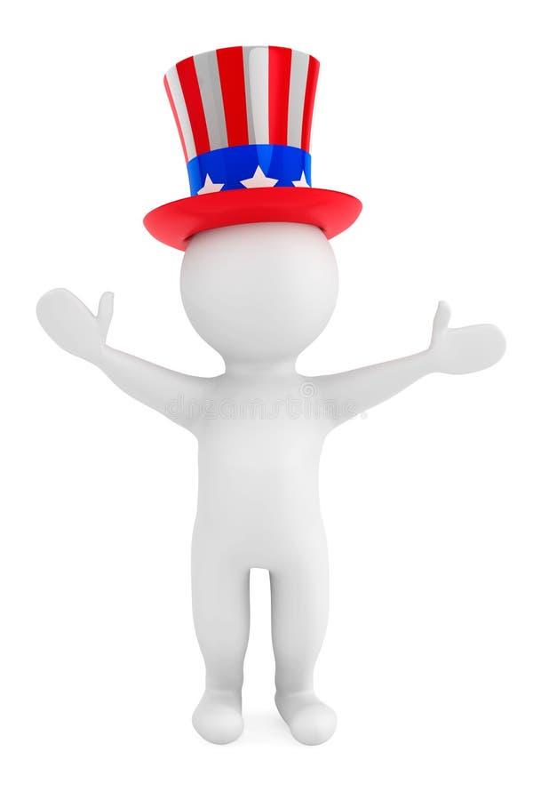 Concetto di festa dell'indipendenza. piccola persona 3d con il cappello americano royalty illustrazione gratis
