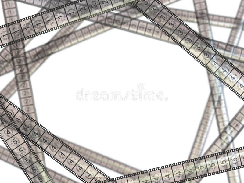 Concetto di film Strisce di pellicola su fondo bianco illustrazione vettoriale