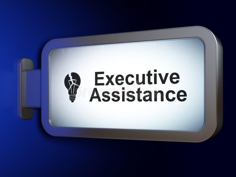 Concetto di finanza: Assistenza esecutiva e lampadina sul fondo del tabellone per le affissioni fotografia stock