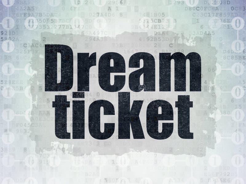 Concetto di finanza: Biglietto di sogno sul fondo della carta di dati di Digital illustrazione vettoriale