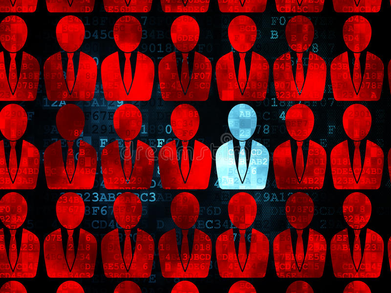 Concetto di finanza: icona blu dell'uomo di affari su Digital illustrazione vettoriale