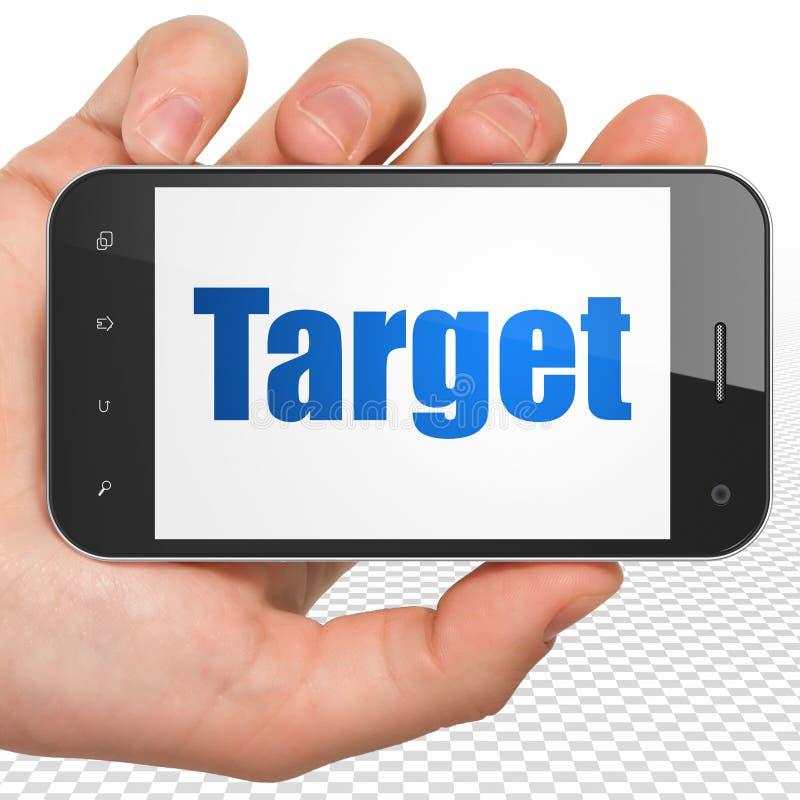Concetto di finanza: Mano che tiene Smartphone con l'obiettivo su esposizione illustrazione di stock