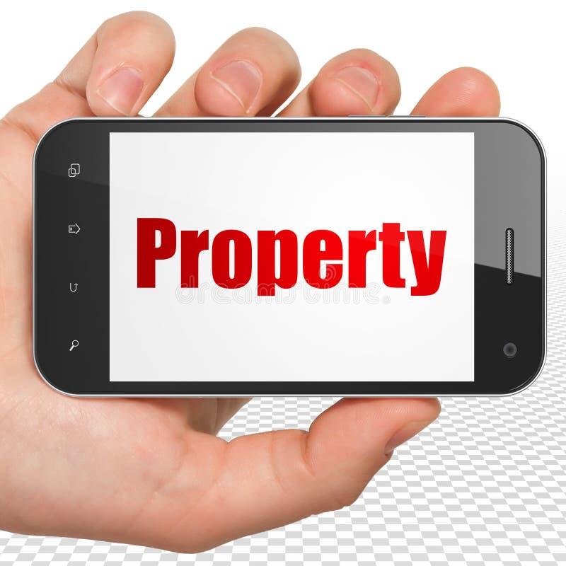 Concetto di finanza: Mano che tiene Smartphone con la proprietà su esposizione fotografie stock libere da diritti