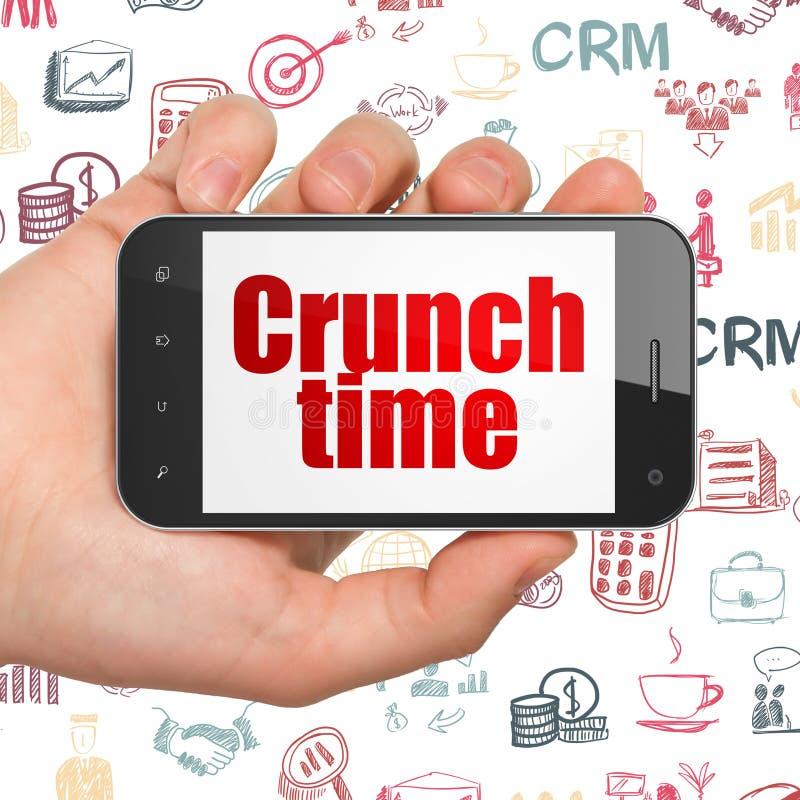 Concetto di finanza: Passi la tenuta dello Smartphone con tempo di scricchiolio su esposizione illustrazione di stock
