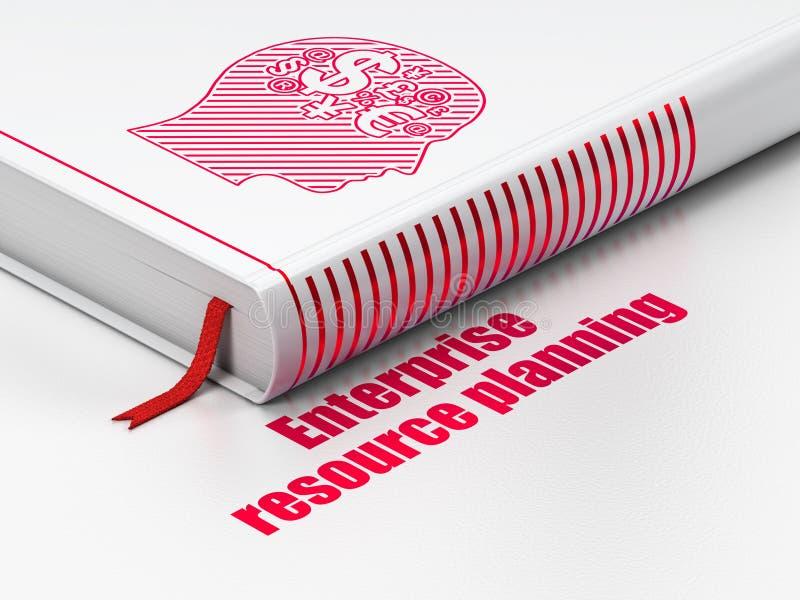 Concetto di finanza: prenoti la testa con il simbolo di finanza, pianificazione delle risorse di impresa sul fondo bianco royalty illustrazione gratis