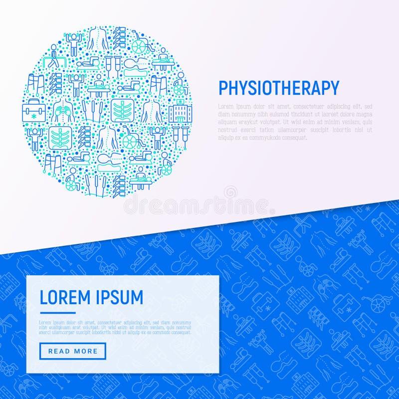Concetto di fisioterapia nel cerchio illustrazione vettoriale