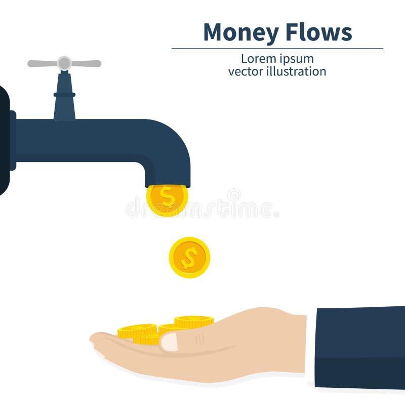 Concetto di flusso di cassa Caduta delle monete di oro Mano dei soldi del fermo Successo di risultato Rubinetto di finanza Illust illustrazione vettoriale
