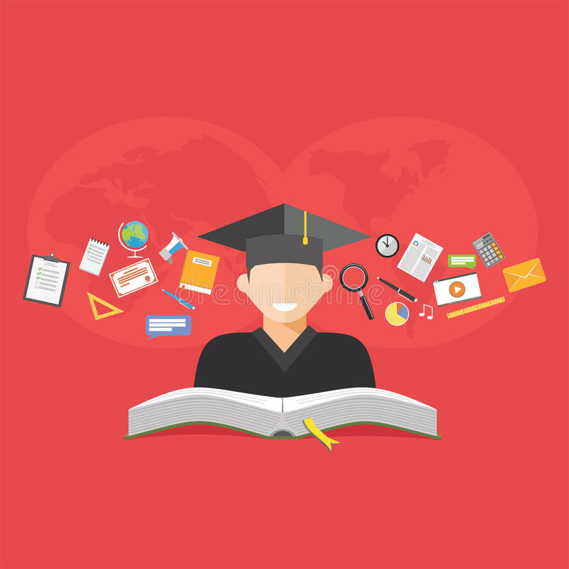 Concetto di formazione E-learning Divisione del concetto di conoscenza illustrazione vettoriale