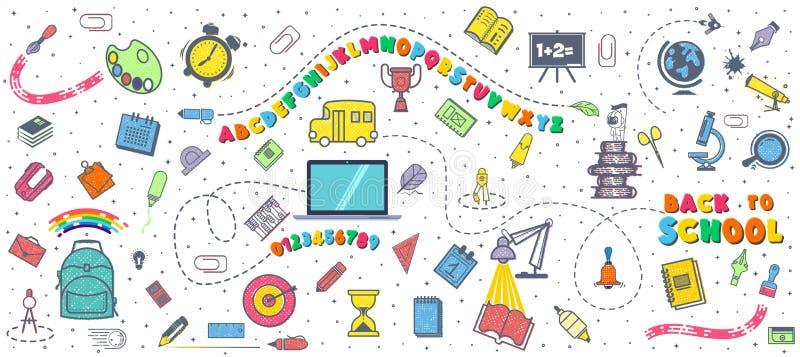 Concetto di formazione Fondo della scuola con i rifornimenti di scuola disegnati a mano Alfabeto e numeri Di nuovo all'iscrizione illustrazione di stock
