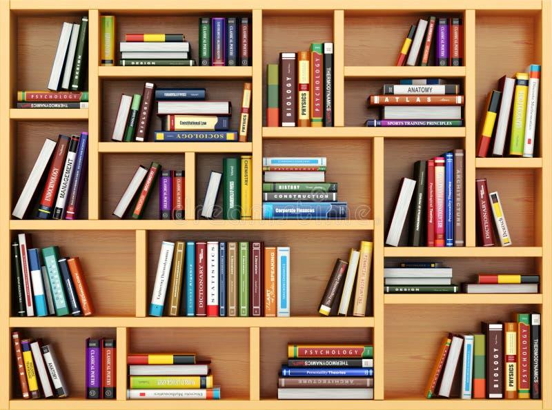 Concetto di formazione Libri e manuali sullo scaffale per libri illustrazione di stock