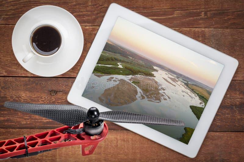 Concetto di fotografia aerea - fiume di Noibrara fotografia stock libera da diritti