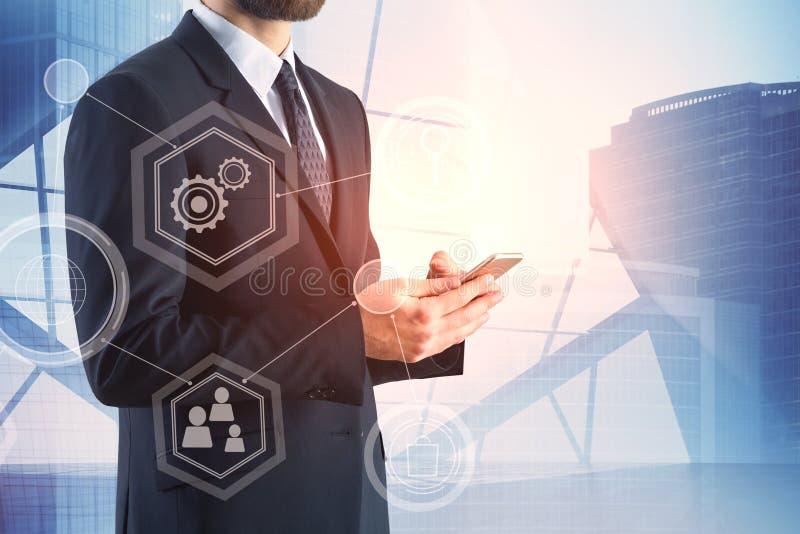 Concetto di futuro, di comunicazione e del lavoro immagini stock