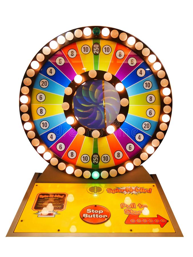 Concetto di gioco del casinò: ruota variopinta di gioco del gioco delle roulette immagini stock libere da diritti