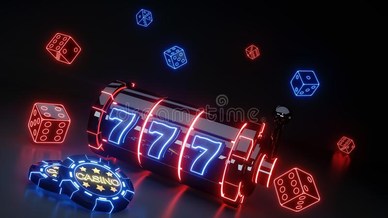 Concetto di gioco dello slot machine del casinò con al neon d'ardore isolato sui precedenti neri - illustrazione 3D illustrazione di stock