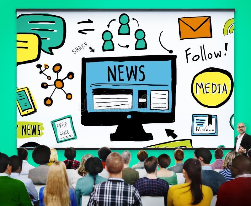 Concetto di giornalismo di media della pubblicazione della pubblicità dell'articolo di notizie fotografia stock