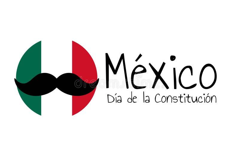 Concetto di Giornata della Costituzione in Messico con bandiera nazionale, baffi e iscrizione Messico, giornata della Costituzion royalty illustrazione gratis