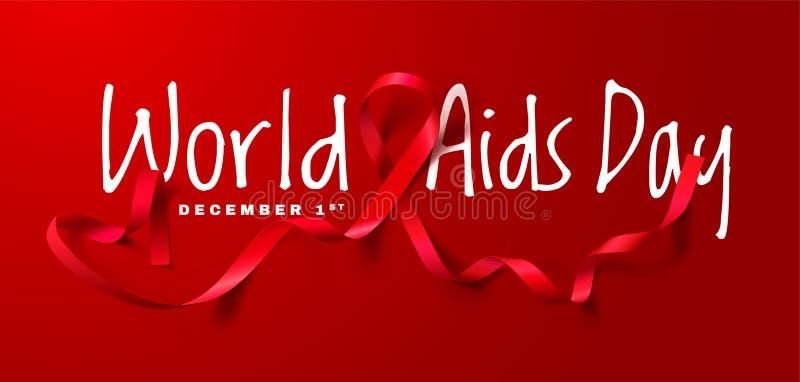 Concetto di Giornata mondiale contro l'AIDS Aiuta la consapevolezza Nastro rosso realistico Progettazione del manifesto di callig illustrazione di stock